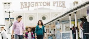 Chinese tourists on a day trip to the iconic Brighton Pier, England