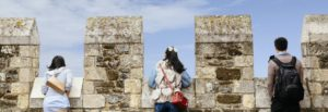 Three Chinese tourists explore English Heritage's Dover Castle